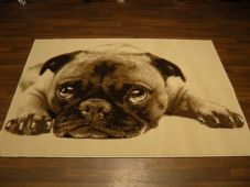 Modern Approx 6x4 120x170cm Woven Backed Pugs Rug Sale Top Quality Beiges/Creams